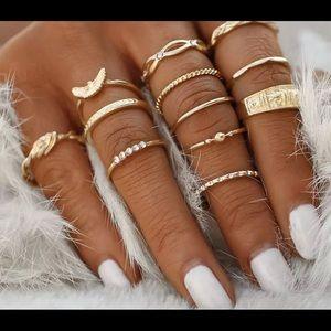 2/$15 Flash Sale🚨12 Piece Boho Gold Ring Set NWT